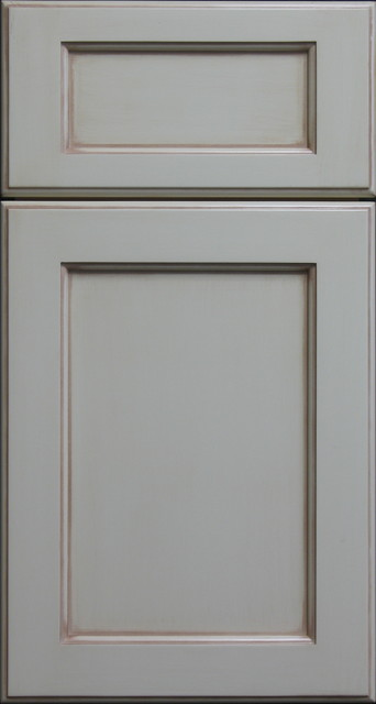 Painted Shaker style Cabinet Door with Light Antique Chalking Farmhouse K