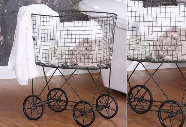 Vintage Inspired Laundry Basket With Wheels Farmhouse
