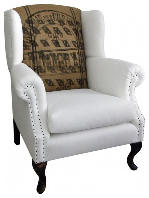 Wingback Chair Linen And French Jute Eclectic Armchairs And Accent Chairs