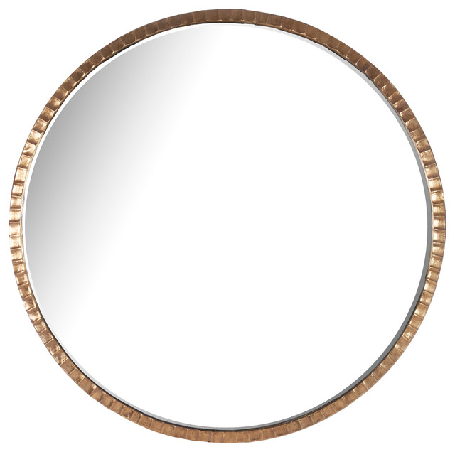 Yorkville Hollywood Regency Large Thin Round Wall Mirror