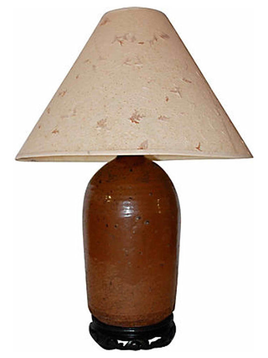Stoneware Sake Bottle Lamp - A classic 1890-1920s Japanese stoneware sake bottle table lamp with a rich natural glaze and a handmade Japanese paper shade. Wired for US use and in working condition.
