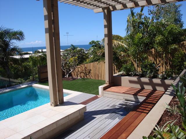 backyard makeover contemporary pool sunshine coast