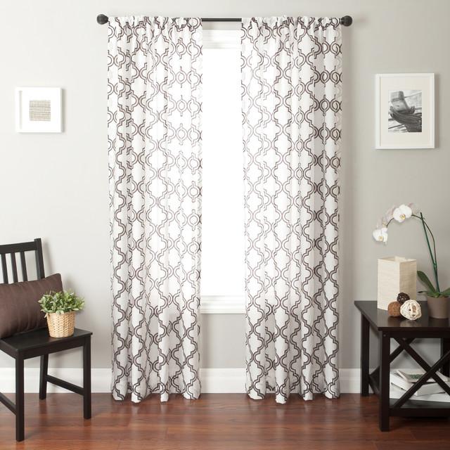 Blindsgalore signature drapery panel quatrefoil sheer for Patterned sheer curtain panels
