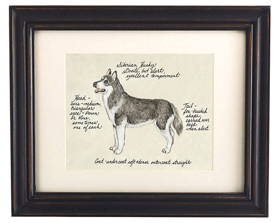 Ballard Designs - Siberian Husky Dog Print - Printed on antiqued parchment. Eggshell mat. Black wood frame. Glass front. Our Siberian Husky Dog Print was created by the dog-devoted, husband and wife team of Vivienne and Sponge. The Siberian Husky is known for being alert while having an excellent, docile temperament. Each portrait is signed by the artists, hand colored and embellished with notes on the breed's special characteristics. Siberian Husky Dog Print features:. . . . *Please note that personalized items are non-returnable.