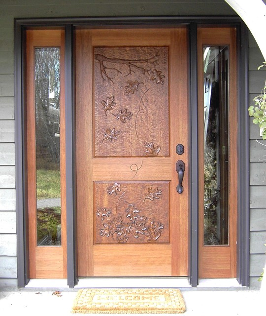 Mahogany Entrance with Hand Carved Door traditional front doors