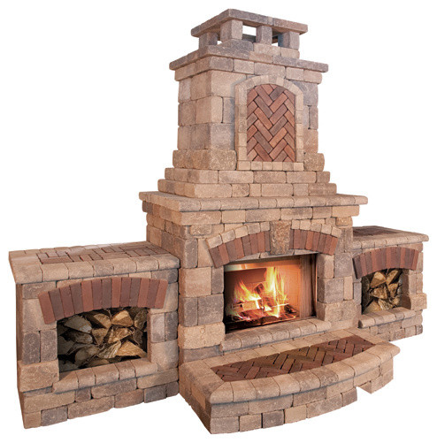 Tuscany Fireplace and Wood Boxes contemporary-fire-pits
