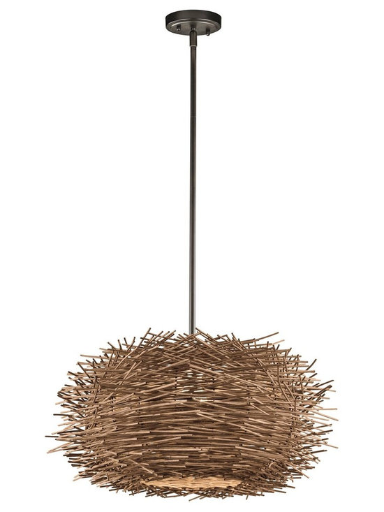 Kichler Lighting - Olde Bronze Twigs Single-Bulb Indoor Pendant with Round Wood Shade - Kichler 43203OZ Twigs Pendant This unique 1 light pendant from the Twigs collection makes a bold statement. The rich Olde Bronze finish and natural detailing will dramatically elevate any space in your home.