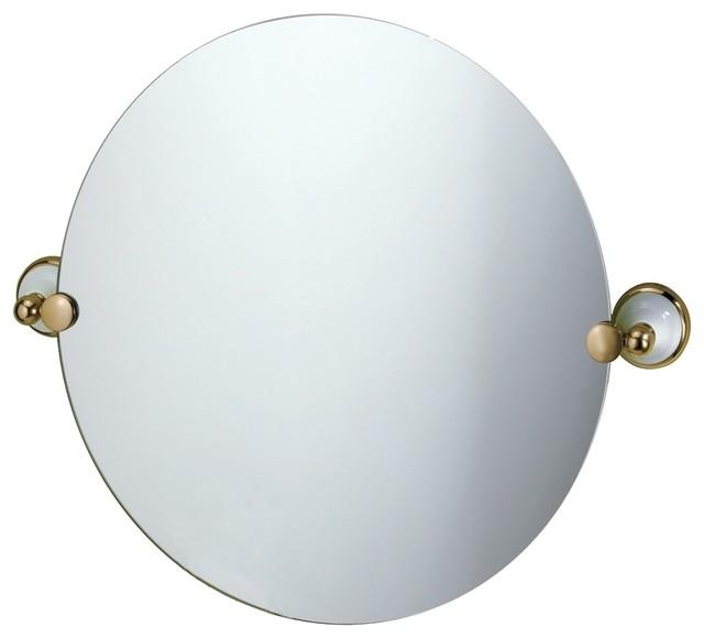 Frameless Gatco Franciscan Brass Round Tilt 19 1 2 High Wall Mirror Modern Bathroom Mirrors