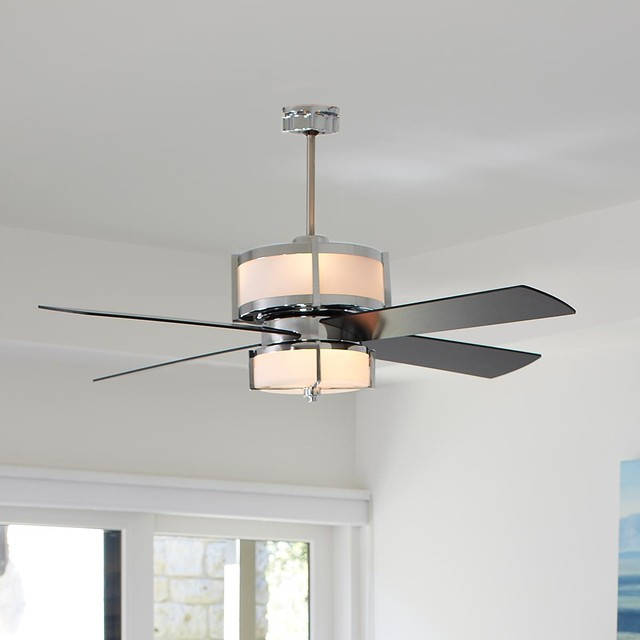 Upscale modern ceiling fan 2 finishes ceiling fans for Bedroom ceiling fans
