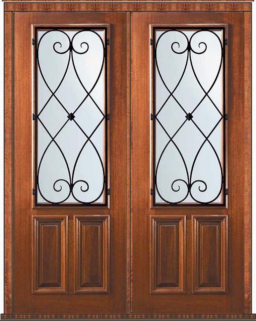 Prehung Double Door 96 Mahogany Charleston 2/3 Lite Wrought Iron - Mediterranean - Front Doors ...