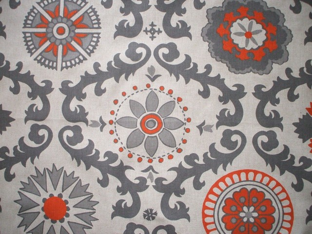 72 Shower Curtain Lined Rosa Orange Grey Beige Geometric Contempora