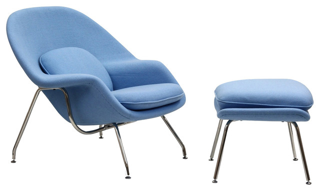 Eero Saarinen Style Womb Lounge Chair and Ottoman in Baby Blue contemporary-ottomans-and-cubes