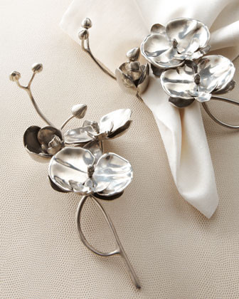 VAGABOND HOUSE Four Orchid Napkin Rings traditional napkin rings