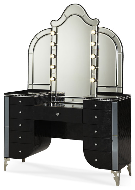 Hollywood Swank Starry Night Upholstered Vanity with Mirror - Contemporary - Desks And Hutches ...