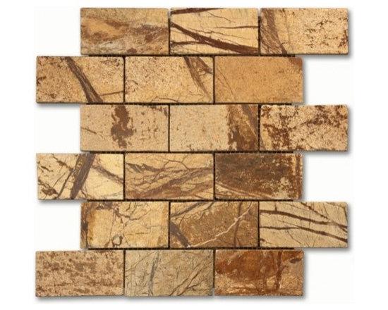 Rain Forest brown 2x4 brick pattern polished - 2x4 brick pattern mosaic. Rain Forest Brown Polished Marble Mosaic.