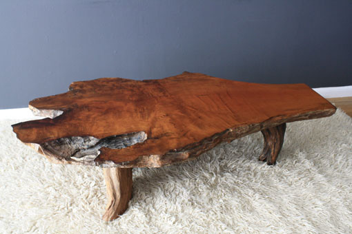 Vintage Mid-Century Burl Wood Slab Coffee Table contemporary-coffee-tables