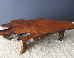 Vintage Mid-Century Burl Wood Slab Coffee Table contemporary coffee tables