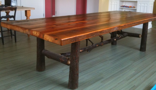 Antique Reclaimed Pine And Hickory Dining Table Rustic Dining Tables