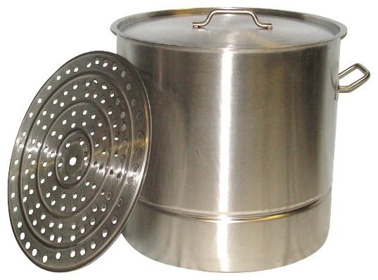 80 Qt Large Stainless Steel Stock Pot Steamer Insert Rack, Riveted Handles - Traditional ...