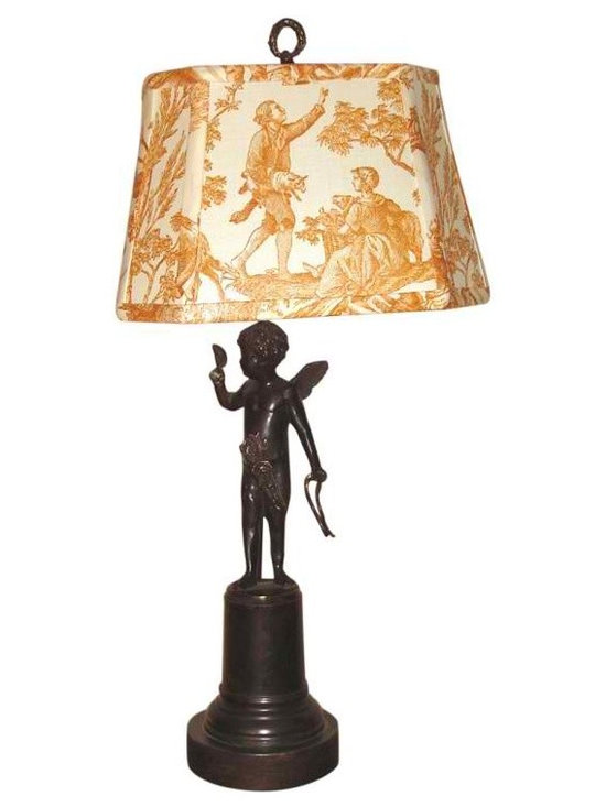 Angel Spelter Lamp - Wonderful late 19th century Antique Spelter Statue found in France of an Angel holding a mask . For the Shade I selected a wonderful piece of Vintage French Toile Fabric and designed the shape so it fits the statue perfectly.