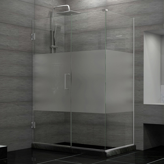 "Unidoor Plus 30-1/2""Wx34-3/8""Dx72""H Hinged Shower Enclosure, Half Frosted Door modern-showerheads-and-body-sprays"