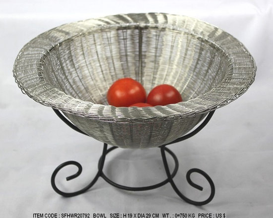 Handwoven Wire Tableware-Stainless Steel - Bowl with Powder Coated Stand Black Finish
