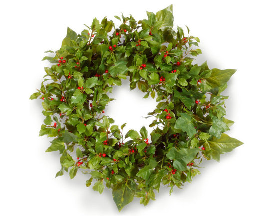 Winward Designs - Holiday Holly Wreath 26 inch - Few things say Christmas as much as ivy and holly. So we decided to put them together in one extremely festive wreath. The holly includes berries, capturing the primary red and green of Christmas.
