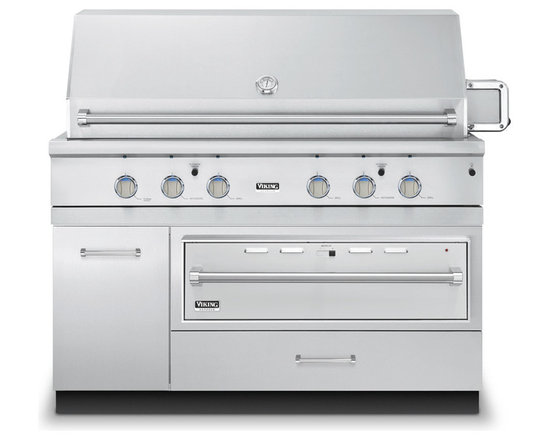 "Viking 54"" Grill Base Cabinet With Warming Drawer Access, Stainless 