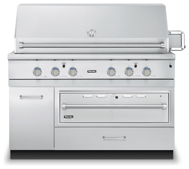 """Viking 54"""" Grill Base Cabinet With Warming Drawer Access, Stainless ..."""