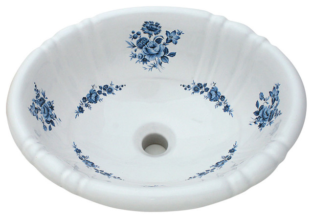 Blue Amaranth Hand Painted Sink Traditional Bathroom