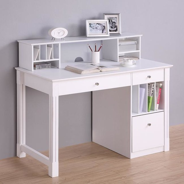 Deluxe White Wood Computer Desk With Hutch Modern