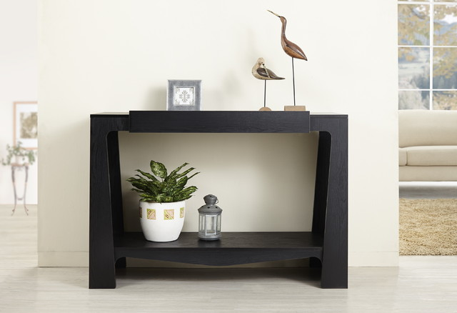 Furniture of america urbana black modern hall entry way console table contemporary console for Images of couch for hall rennes