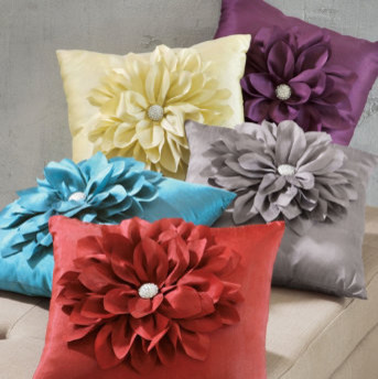 Jeweled Flower Throw Pillow traditional-decorative-pillows