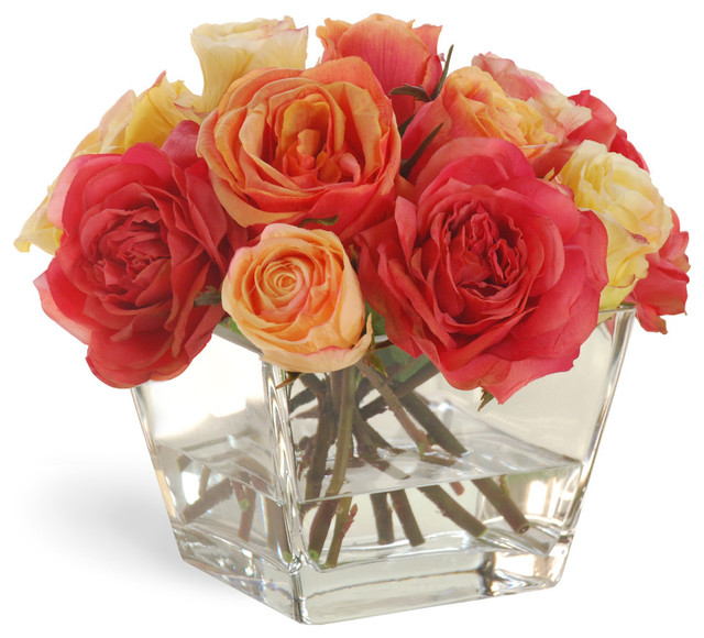 Rose In Vase Orange/Yellow Flower Arrangement traditional-artificial-flowers