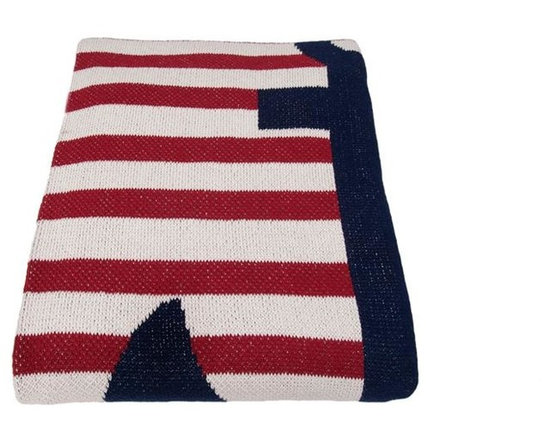 Eco French Anchor Stripe Throw-Pomegranate/Milk - Bursting with Americana charm, this classic throw blanket features a classic anchor motif done in bold colors. Use this fabulous throw to enhance the style in a bedroom, den or beach house.