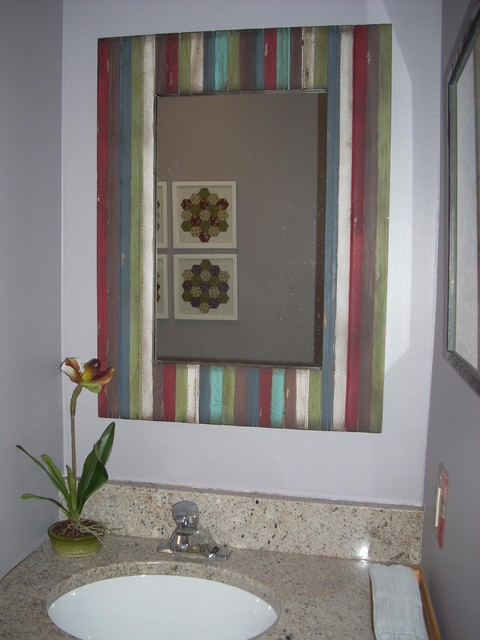 Reclaimed Wood Framed Mirror - works well with quilt theme eclectic