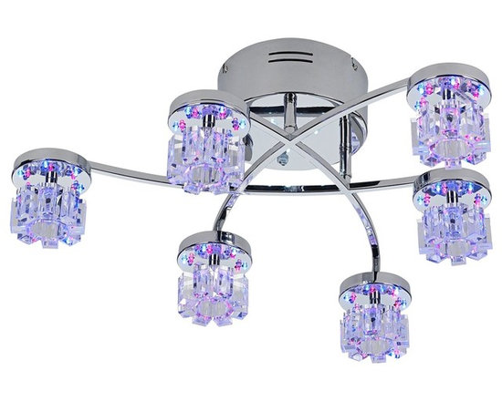 """Possini Euro Design - Possini Euro LED Light Show Semi-Flush Ceiling Light - With its abstract design and color-changing capabilites this ceiling light is sure to grab your guests' attention wherever you place it. Six halogen bulbs are surrounded by LEDs that change colors from red to green to blue. Includes a remote that allows you to easily control the G4 halogen lights as well as the LED lights. This semi-flushmount ceiling light is a dazzling way to light and decorate a room. Chrome finish. Includes six 20 watt G4 halogen bulbs. Red blue and green LED options. Includes remote. Takes two AAA batteries (not included). UL listed electric transformer. 6"""" high. 25 1/2"""" wide.  Chrome finish.  Includes six 20 watt G4 halogen bulbs.  Red blue and green LED options.  Includes remote.  Takes two AAA batteries (not included).  Electric transformer.  25 1/2"""" wide.  6"""" high.  LED's are not dimmable."""
