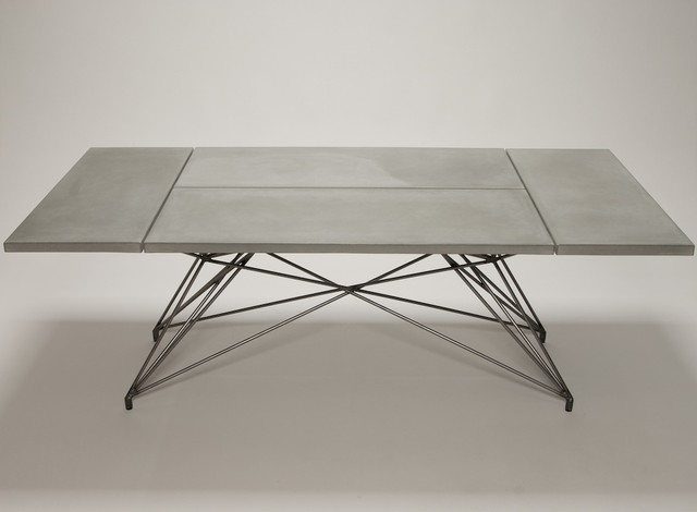 table concrete table with steel base by hard goods modern dining