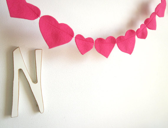 Pink Heart Garland by Art's Delight contemporary-wreaths-and-garlands
