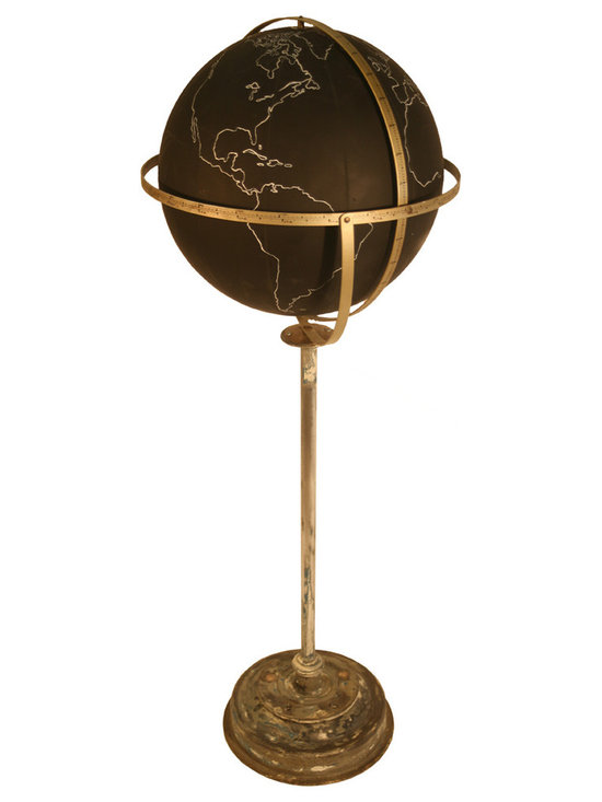 Black Terrestrial School Globe - This 16inches black school globe  was used in classroom like a blackboard to write the name of the country and geographic details with a chalk .When done you could just erase everything and start all over again.