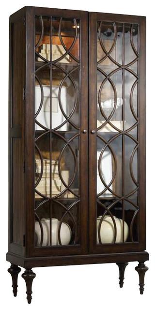 Hooker Furniture Melange Adaira Display Cabinet in Walnut transitional-storage-cabinets