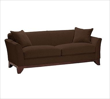 Greenwich Upholstered Sofa, Down-Blend Wrap Cushions, Brushed Canvas Espresso traditional-sofas