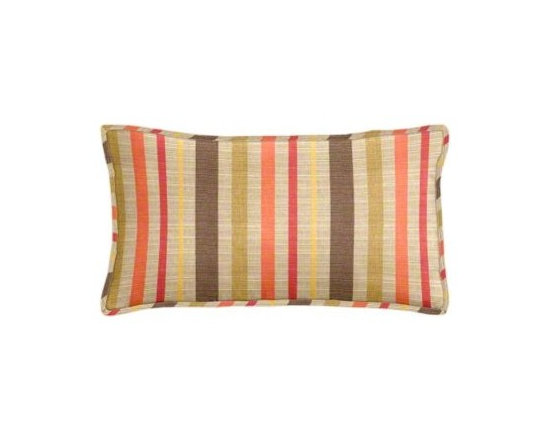 "Cushion Source - Sunbrella Solano Fiesta Outdoor Lumbar Pillow - The 20"" x 12"" Sunbrella Solano Fiesta Outdoor Lumbar Pillow features a dupioni fabric of brown, mustard, raspberry, orange, and chartreuse on a beige background"