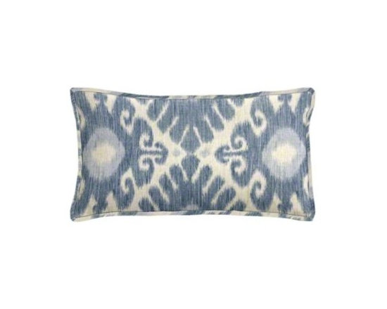"""Cushion Source - Florence Denim Ikat Lumbar Pillow - The 20"""" x 12"""" Florence Denim Ikat Lumbar Pillow features a globally-inspired diamond ikat pattern in denim and pastel blue on a natural background."""