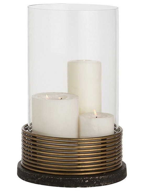 Arteriors Home - Winston Hurricane - Winston Hurricane features Antique Brass plated iron rings stacked to form the cage for the glass silo, then mounted on a black iron base. Will easily hold a 6 inch diameter pillar candle. 12 inch diameter x 19 inch height.