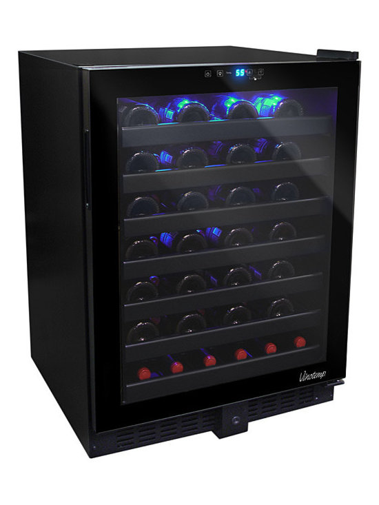 Vinotemp - Vinotemp - 54-Bottle Touch Screen Wine Cooler - The ultra-sleek 54 Bottle Touch Screen Wine Cooler with Seamless Glass Door by Vinotemp adds a touch of sophistication to any room. With its seamless, all-glass technology, this unit allows you to house approximately 54 standard bottles. This unit features distinctive black racking, which is a patent pending Vinotemp design exclusive.