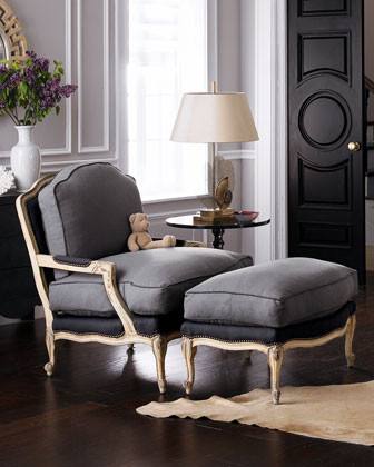 Slate Bergere Chair & Ottoman traditional chairs