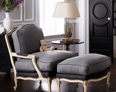 Slate Bergere Chair & Ottoman traditional-accent-chairs