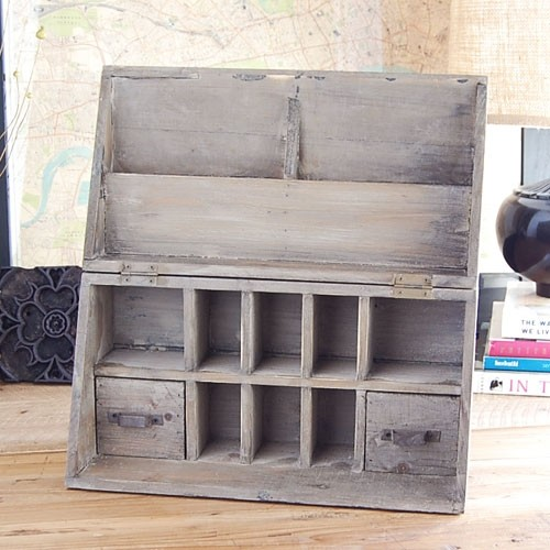 Vintage Wood Desk Organizer - Traditional - Desk ...