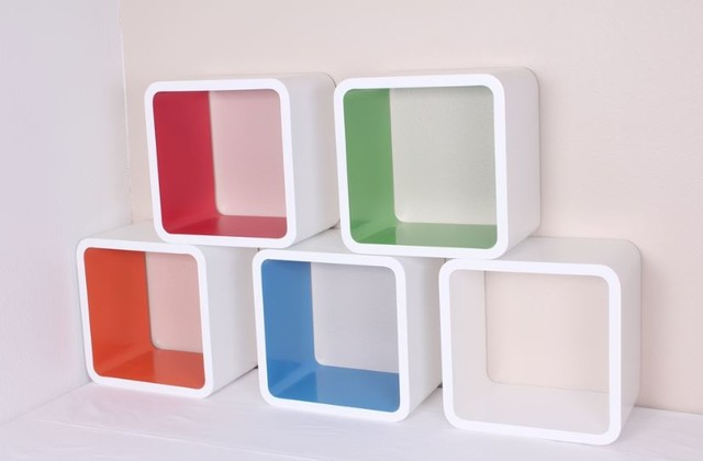 "Wall Cube Set Shelves-Red,Blue,White,Orange,Green 12""x8""x12"" - Modern - Display And Wall Shelves ..."